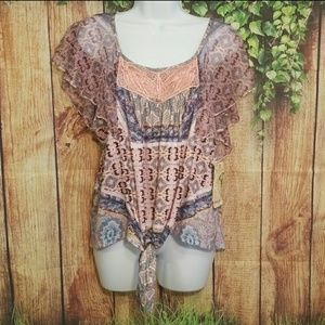 🔥One World Live and Let Live Boho Blouse Size PXL